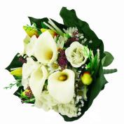 FloristryWarehouse Artificial silk mixed flower bouquet Calla Lillies Roses 40cm Cream