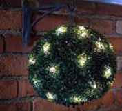 Four 28cm Pre Lit Solar Powered Artificial Topiary Balls - Dual Function- Hang / Stand