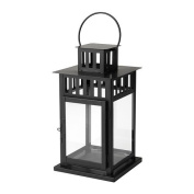 BORRBY Lantern for block candle, Black, Size 28 cm, Suitable for both indoor and outdoor use.