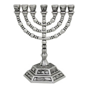 Seven Branch Menorah silver plated with the Symbols of the Twelve Tribes of Israel