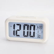 HITO™ 13cm Smart, Simple and Silent LCD Alarm Clock w/ Date Temperature Display, Ascending Alarm, Repeating Snooze and Sensor Light + Nightlight