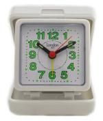 Traditional White Folding Case Bold Quartz Travel Clock