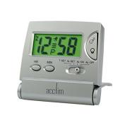 Travel Alarm Clock Silver Acctim Mini LCD Flip