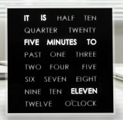 LED Word Clock - A clock that displays the time in text- Decorative desktop quartz clock - Shelf / Desk / Table Novelty Timepiece