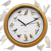 BATTERY OPERATED MUSICAL 12 SONG SINGING BIRDS HOME ROUND ANALOGUE WALL CLOCK