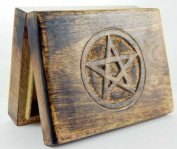 Wooden Tarot Card Box With Engraved Pentagram