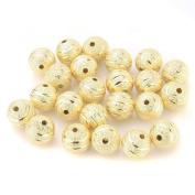 Beadnova 10mm Gold Plated Diamond Cut Stardust Stripe Round Beads 50pcs