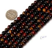 "6mm round gemstone mixed colour tiger eye beads strand 15"""