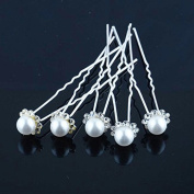 HuntGold 6X U-shaped Wedding Flower Synthetic Pearl Hair Clip Pin Hairpin Stick