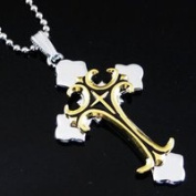 Necklace Stainless Steel Silver and Gold Cross Necklace - English Cross