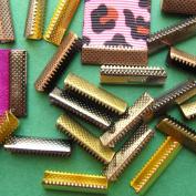 22mm or 7/8 inch No Loop Ribbon Clamp Crimps -- Mixed Finish