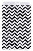 200 pcs Black Chevron Paper Gift Bags Shopping Sales Tote Bags 15cm x 23cm Black and White Zig Zag Design-Caddy Bay Collection