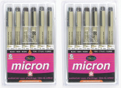 Sakura 30062 6-Piece Pigma Micron Ink Pen Set, Black - 2-PACKS