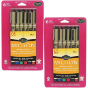 Sakura 30065 6-Piece Pigma Micron Assorted Colours 05 Ink Pen Set
