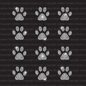 Set of 12 Mini Paw Print Iron On Rhinestone Crystal T-shirt Transfers by Jubilee Rhinestones