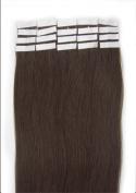 46cm Colour Long Colour 02 Dark Brown Tape in Premium Remy Human Hair Extensions_20 Pcs Set 40g Weight Straight Women Beauty Salon Style Design