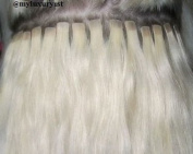 20 Single Pieces Micro Mini Tape in Remy Human Hair Extensions Light Blonde Platinum Tiny Square Tip Strands 46cm