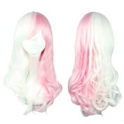 Xcoser Danganronpa Monomi Cosplay Long Wavy Pink White Mixed Colour Anime Wig