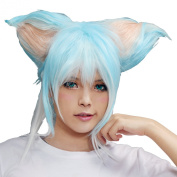 Xcoser Gun Gale Online Sinon Cosplay Blue White Gradiant Colour Wig With Cat's Ear