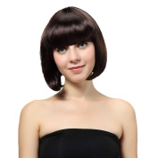 Bigood 28cm Cute Sweet Straight Smooth Bob hairstyle Neat bang Dark brown wig