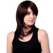 Bigood 50cm Human hair Inclined bang Shoulder length long Chestnut brown wig 50cm