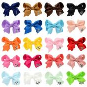 ChicStar 20 Pcs 7.6cm Baby Girl's Boutique Hair Bows Grosgrain Ribbon Pinwheel Bows Alligator Clips Hair Clips Headbands 20 Colours