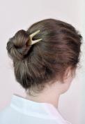 Marycrafts Amber Tiny Buffalo Horn Hair Fork, Hair Pin, Hair Pick Accessory Toy Handmade 10cm