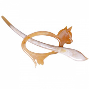 Marycrafts Light Shade Buffalo Horn Cat Kitten Shawl Pin, Hair Pin Accessory Handmade