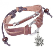 Leather Bracelet with Dangling Marijuana Leaf Pot Leaf Emblem Decal Wristlet / Wristband. 420 - Hemp Marijuana accessories for men or women. Novelty Marijuana Weed Jewellery- Slip Knot Pot Bracelet