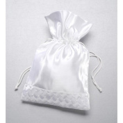 Darice VL30051 Wedding Drawstring Bridal Favour Bag with Woven Pearl Accent, 18cm By 25cm , White