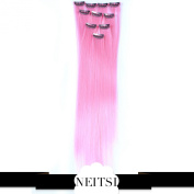 Neitsi® 10pcs 46cm Coloured Highlight Synthetic Clip on in Hair Extensions #F01 Light Pink