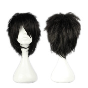COSPLAZA Cosplay Wig Short Rock Spiky Straight Dark Black Heat Resistant Synthetic Hair 30cm Anime Full Hair