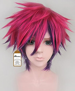 Free Hair Cap+ for Kids and Adults No Game No Life Sora Cosplay Wig Rose Red Mix Purple Short Wigscosplay Convention Event Wigs