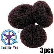 QY 3PCS Hair Mesh Chignon Donut To Make The Most Charming Hair Bun, Small Medium And Large Size, Dark Brown Colour