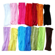 Janecrafts (Set of 12pcs) 18cm Extra Wide Fashion Ruffle Flexsible Cotton Yoga Sports Headband for Teens Women Girls Hair Band Mix in 12 Colours