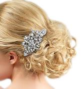 EVER FAITH® Women's Crystal Cream Simulated Pearl Bridal Leaf Hair Comb
