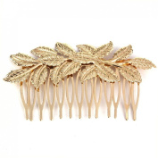 Lowpricenice(TM) Fashion Luxury Women Golden Leaf Bride Hair Comb Hair Clip