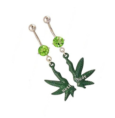"""Pair (2Pcs) """"Best Buds"""" Heaf Palm Leaf Dangle Green Colour Navel Bar Dangle Jewelled Belly Ring Green"""