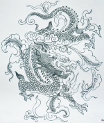 GGSELL GGSELL hot selling extra large new design big size 20cm x 22cm waterproof black and white dragon temporary tattoo sticker for men for back""