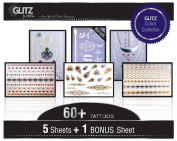 Flash Tattoos - GLITZ by Mottos - Metallic Gold Silver & Colour Best Quality Temporary Tattoos - 100% Guarantee - For Women and Girls - Easy to Apply - Long Lasting - These Jewellery Body Tattoos Stay Bright, Look Real - Free Bonus Sheet in Every Pack!