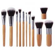 EmaxDesign® 11 Piece Bamboo Handle Makeup Brush Set Kabuki Powder Foundation blusher Cosmetics Brushes With Bag
