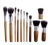 DragonPad 11 pcs Wood Handle Makeup Cosmetic Eyeshadow Foundation Concealer Brush Set Pouch
