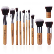 EmaxDesign® Makeup Brushes Professional 11 Piece Makeup Brush Set Bamboo Handle Foundation Blending Blush Eyeliner Face Liquid Powder Cream Cosmetics Brushes Tool Kit With Breathable Bag