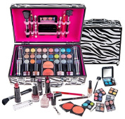 SHANY Carry All Makeup Train Case with Pro Makeup and Reusable Aluminium Case, Zebra