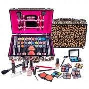 SHANY Carry All Makeup Train Case with Pro Makeup and Reusable Aluminium Case, Leopard