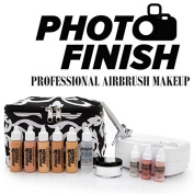 Photo Finish Professional Airbrush Cosmetic Makeup System Kit / Fair to Medium Shades 5pc Foundation Set with Blush, Concealer, Shimmer, Primer and Silica Finishing Powder