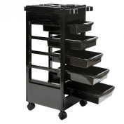 Saloniture Beauty Salon Rolling Trolley Cart With 5 Drawers and a Mixing Bowl