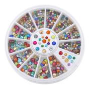 2mm 3mm Metallic Studs Rivet Flat Back Facet Rhinestones Wheels 3D Nail Art Decorations