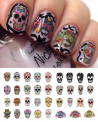 Sugar Skull Nail Decals Assortment #1 Water Slide Nail Art Decals- Salon Quality 14cm X 7.6cm Sheet!