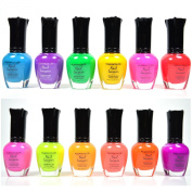 KLEANCOLOR NEON colours 12 FULL COLLETION SET NAIL POLISH LACQUER + FREE EARRING